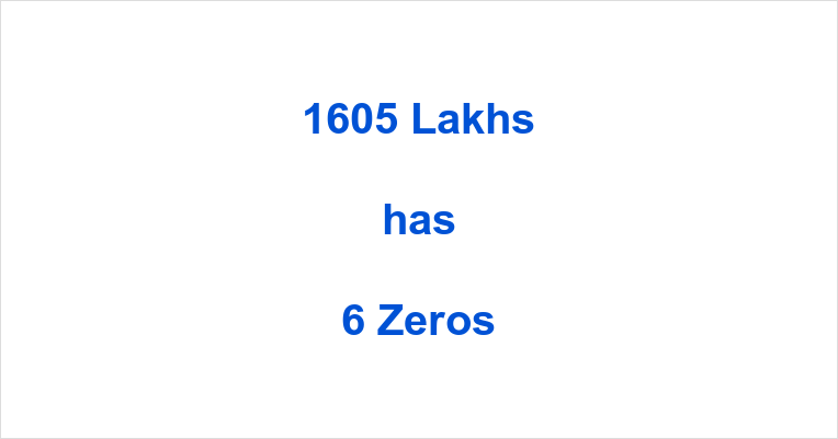 How many Zeros in 1605 Lakhs?