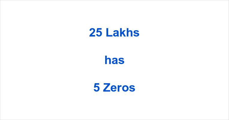 How many Zeros in 25 Lakhs?