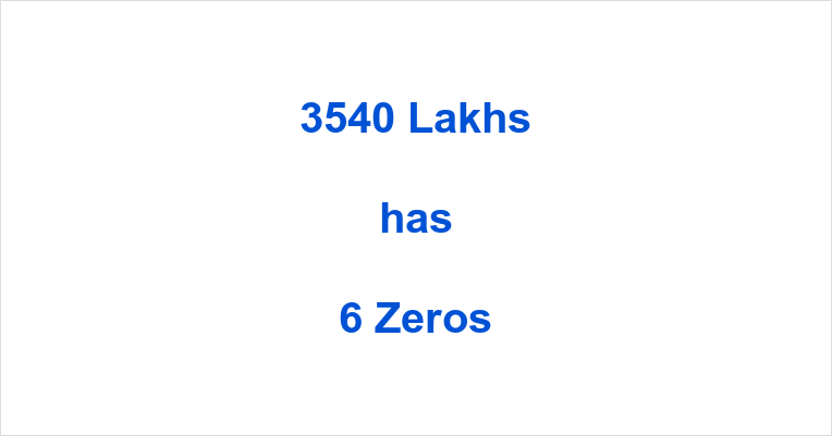 How many Zeros in 3540 Lakhs?