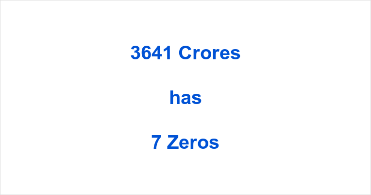 How many Zeros in 3641 Crores?