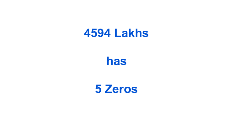How many Zeros in 4594 Lakhs?
