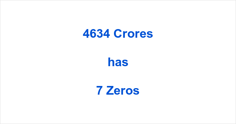 How many Zeros in 4634 Crores?