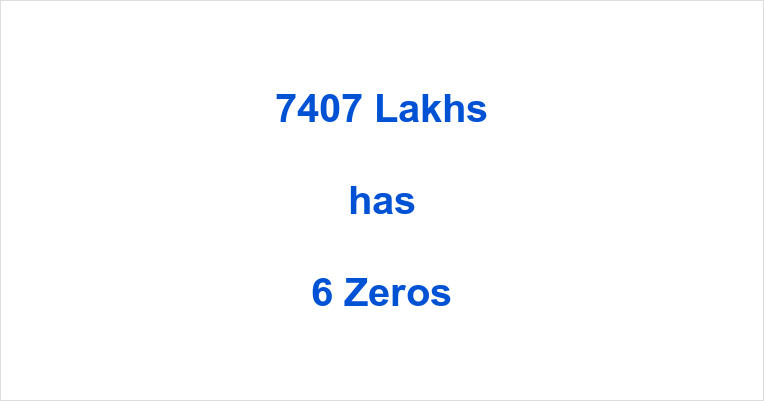 How many Zeros in 7407 Lakhs?