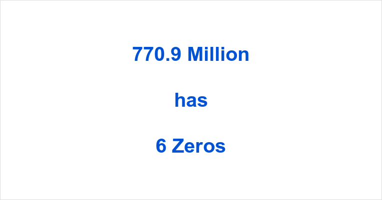 How many Zeros in 770.9 Million?
