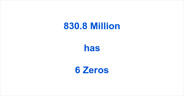 How many Zeros in 830.8 Million?