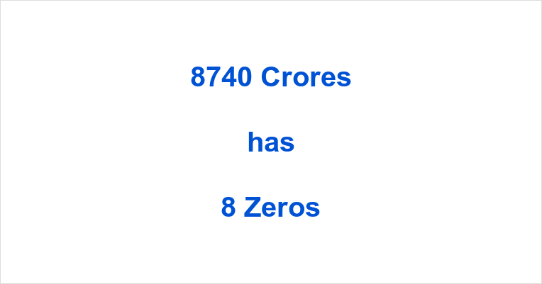 How many Zeros in 8740 Crores?