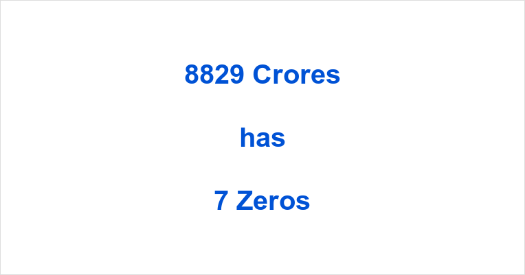 How many Zeros in 8829 Crores?