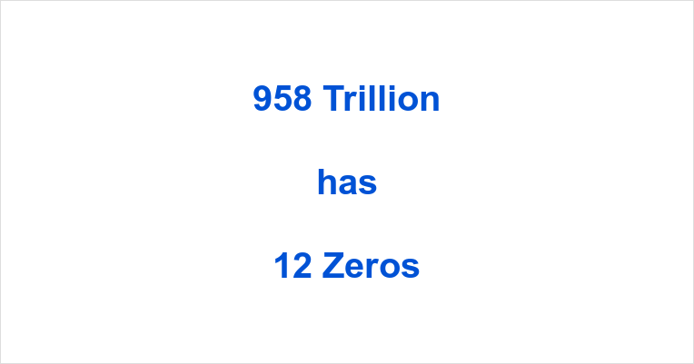 How many Zeros in 958 Trillion?