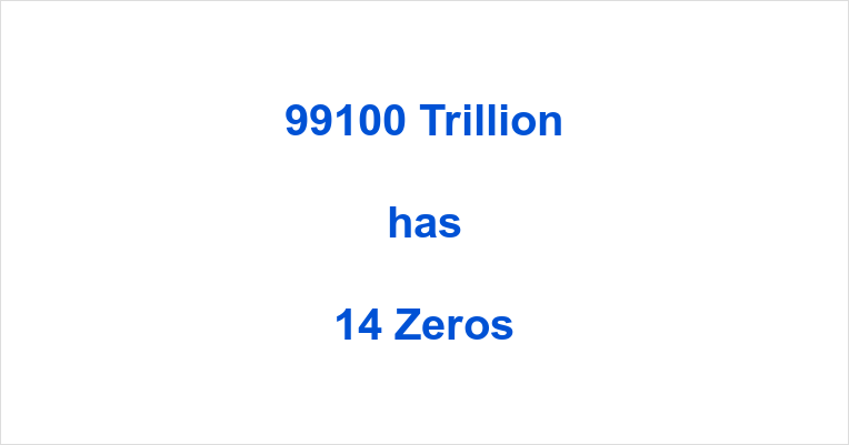 How many Zeros in 99100 Trillion?