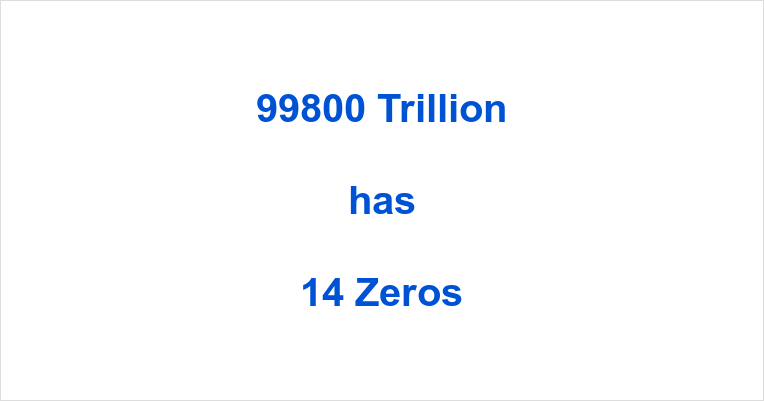How many Zeros in 99800 Trillion?